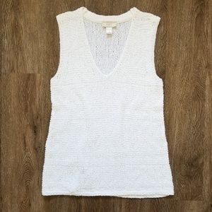 LOFT White Knit Sleeveless V-neck Top